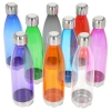 Bullet Type Water Bottle with Transparent Tinted Body and Silver Lid