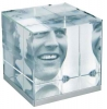 Crystal / Iron Cube Paperweight Picture Frame