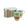 Multistripe Set of 2 Mugs With Tin Box