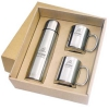 Stainless Steel Flask & 2 Mug Set